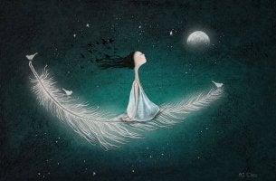 Niña volando sobre pluma hacia la luna