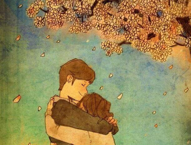 Mujer abrazándose debajo de un árbol
