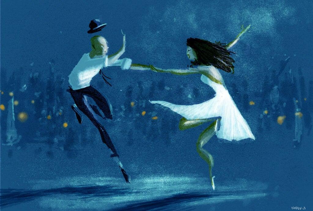 Pareja agarrados de la mano bailando