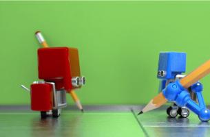 Robot rojo y robot verde
