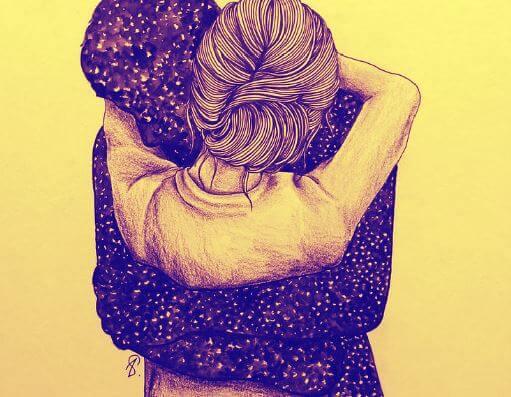Mujer dando un abrazo