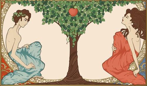 Adán y Eva con la manzana