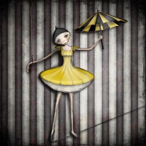 bailarina sobre una cuerda dejando ver la manipulación