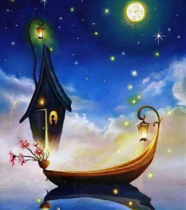 Barco navegando con la luna la vida es