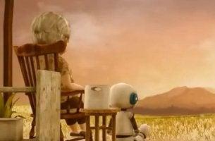 Anciana y robot mostrando el valor de la amistad