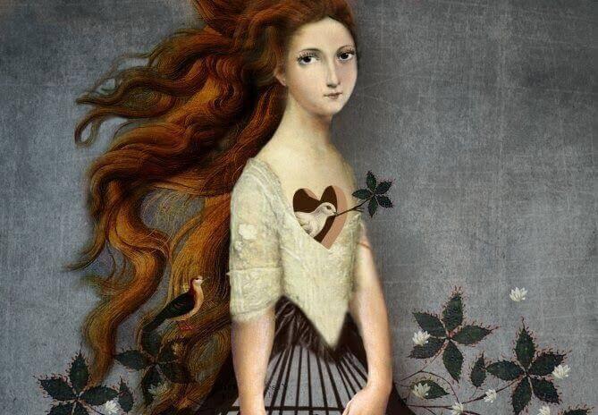 Chica con paloma en el corazón