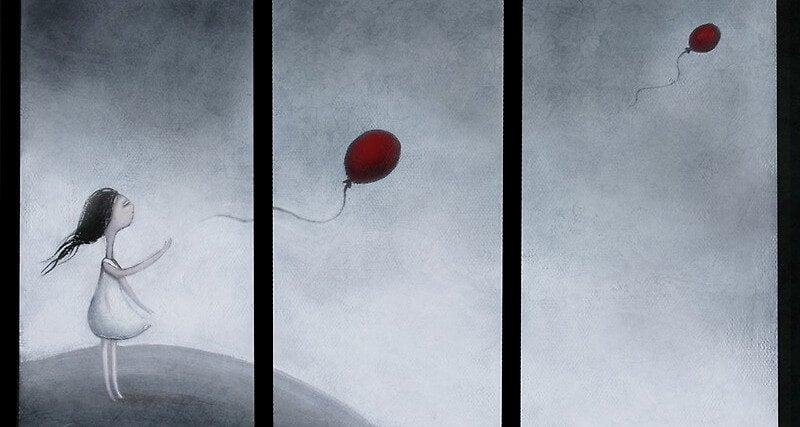 Chica soltando globos rojos al cielo