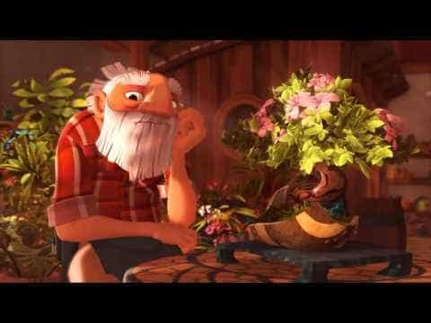 Hombre viejo sentando pensando al lado de una mesa con flores