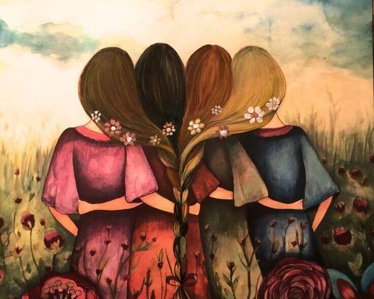 Resultado de imagen de 4 amigas sentadas de espaldas