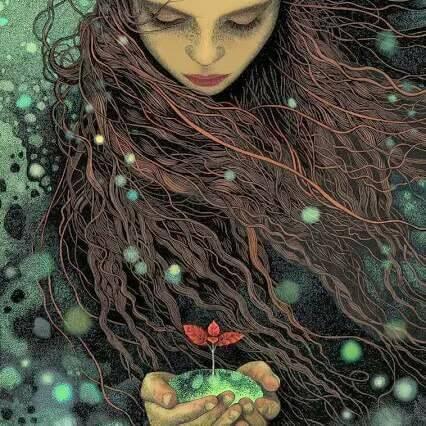 Mujer cuidando una flor