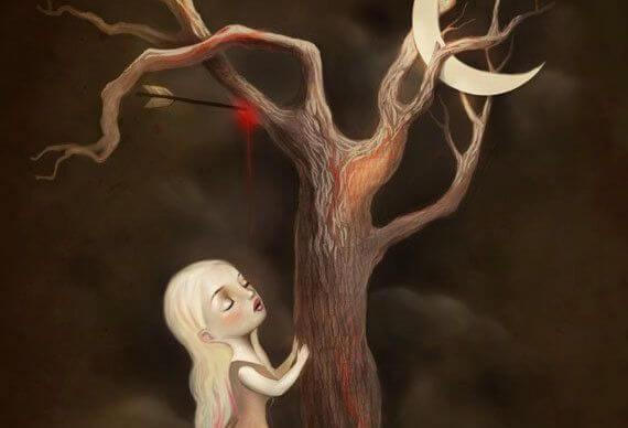 girl touching tree