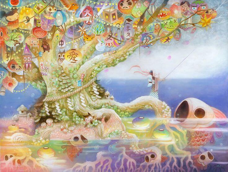 escenario fantasía con riqueza de colores