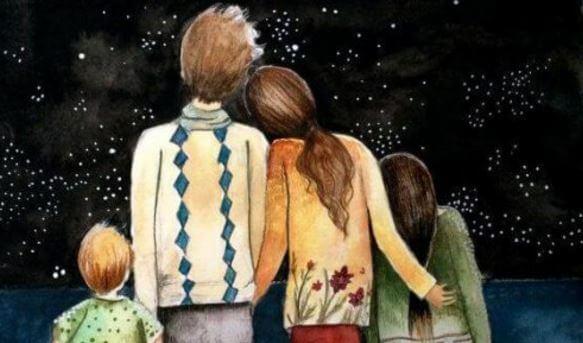Familia abrazada