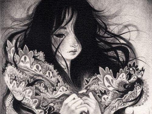 ilustración blanco y negro de joven sufriendo por necesidades neuróticas