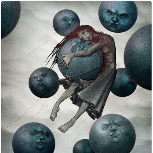 joven abrazando lunas