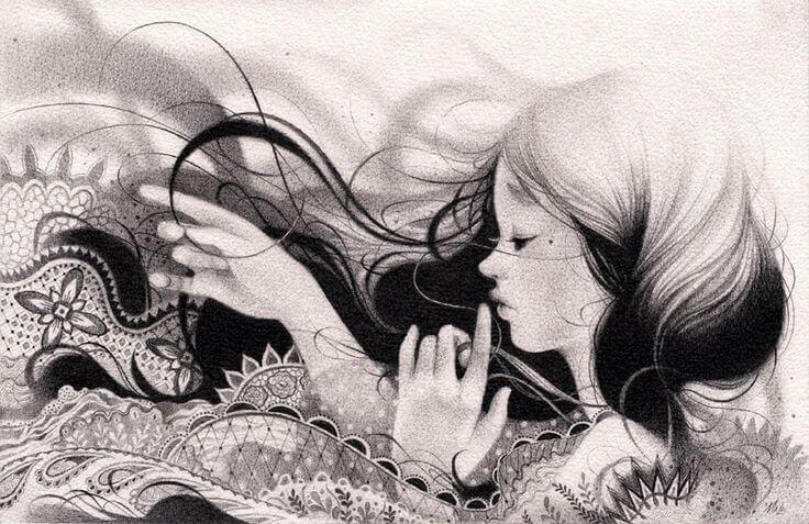 Chica joven en blanco y negro