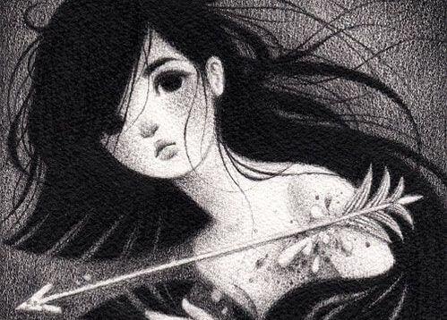 joven con una flecha en el hombro sufriendo descalificaciones