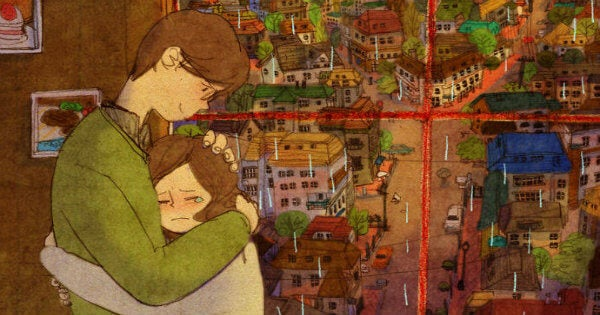 Hombre consolando a la mujer