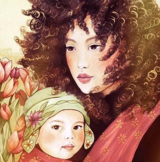 mujer disfrutando de ser madre con su hijo