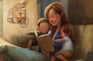 Madre leyendo con sus hijos según pedagogía de María Montessori