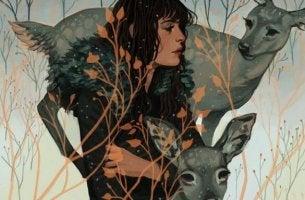 Mujer con ciervos