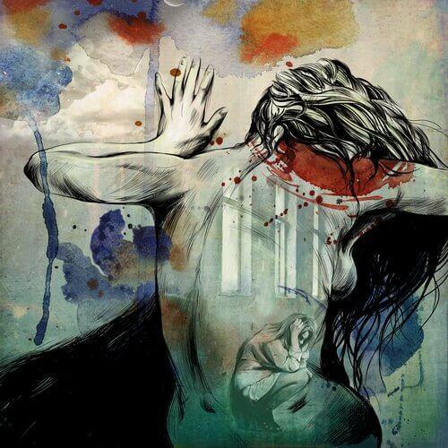 Mujer aterrada, sin coraje