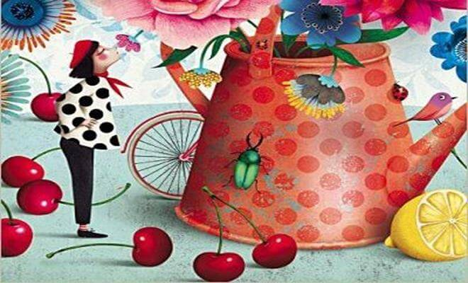 mujer con tetera de colores disfrutando de lo bueno de la vida