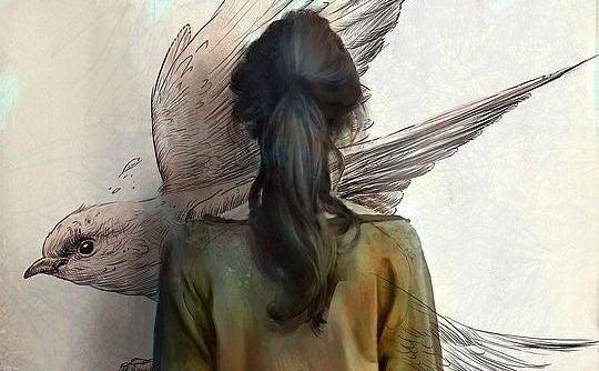 mujer dibujo pájaro