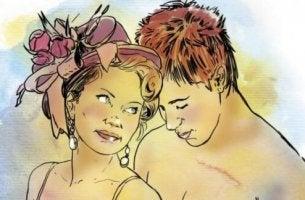 Mujer y hombre en actitud sexual