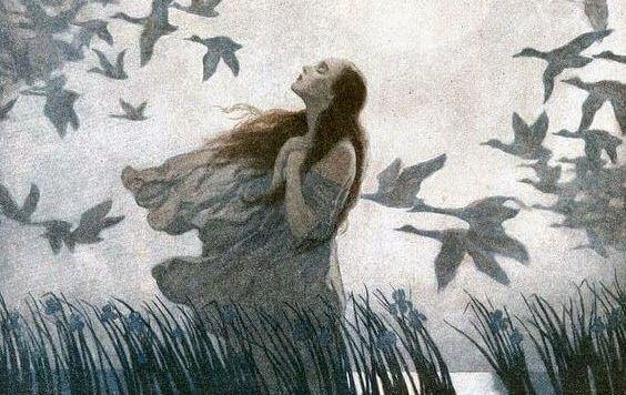 Mujer con pájaros