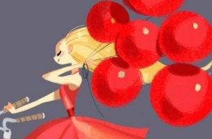 Mujer sujetando globos representando me gustas
