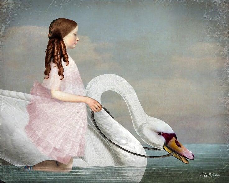 niña con cisne