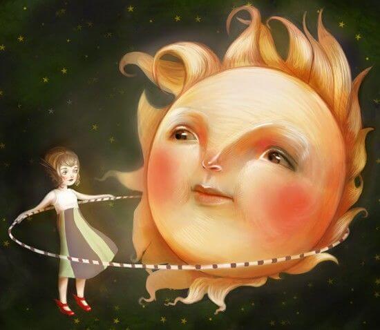 niña jungando con un sol que lucha contra el vacío