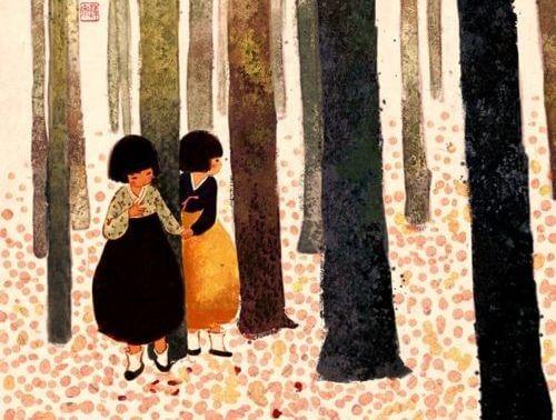 niñas en bosque