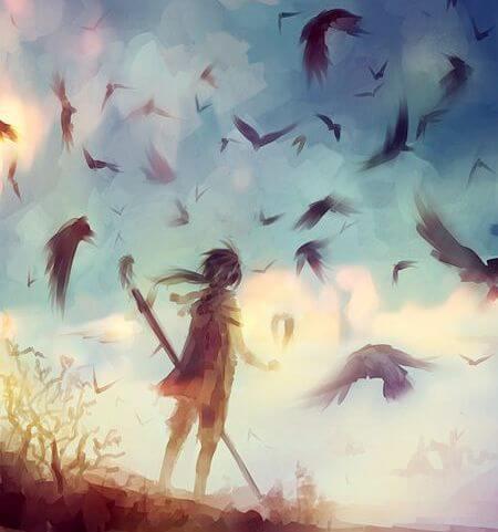 niño con pájaros haciendo frente al miedo