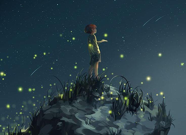 Niño en la noche simbolo de educar con respeto