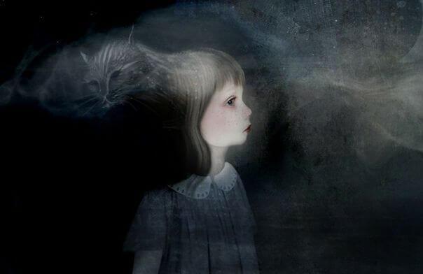 Niña en la oscuridad