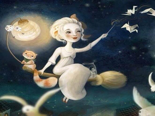 Niña con gato volando sobre escoba