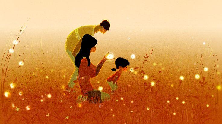 Padres con su hija en el campo