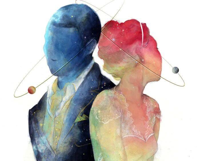 pareja en rosa y azul