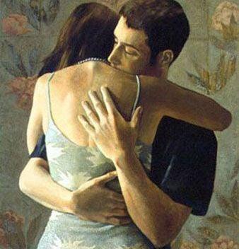 Maleri af par, der krammer