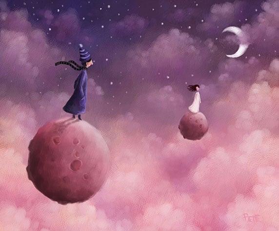 Mujer y hombre subidos a un planeta separados por la distancia