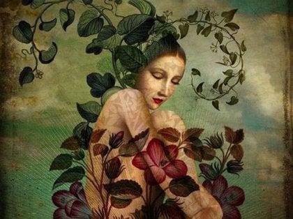 Mujer rodeada de un rosal