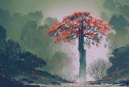 Árbol gigante con hojas rojas