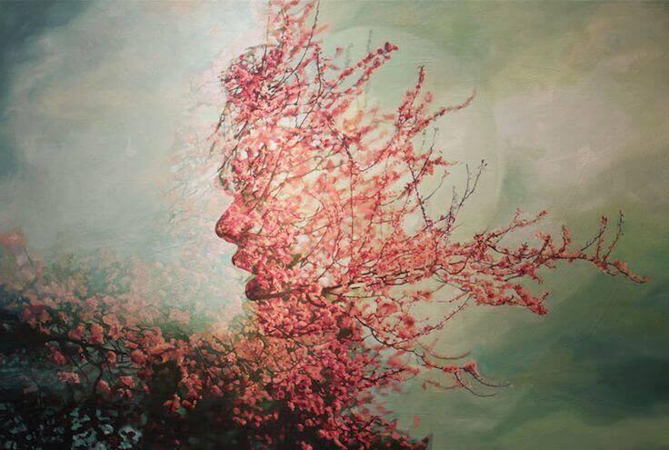 Cara de mujer hecha de flores