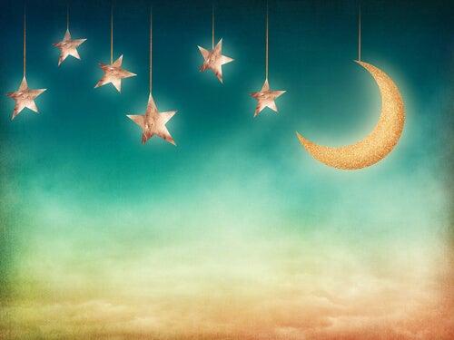 Cielo con estrellas y luna