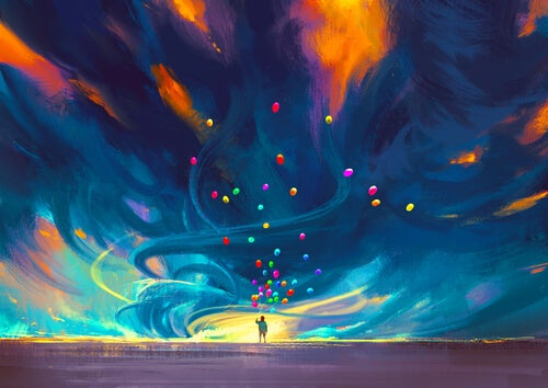 Joven con globos de colores