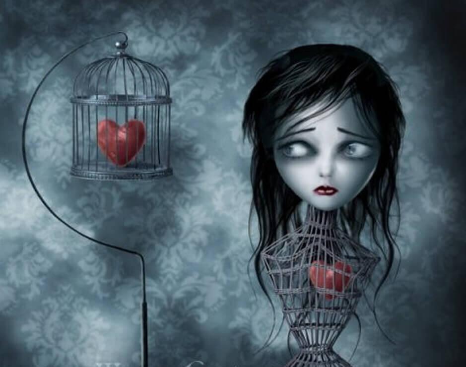 Mujer con el corazón metido en una jaula