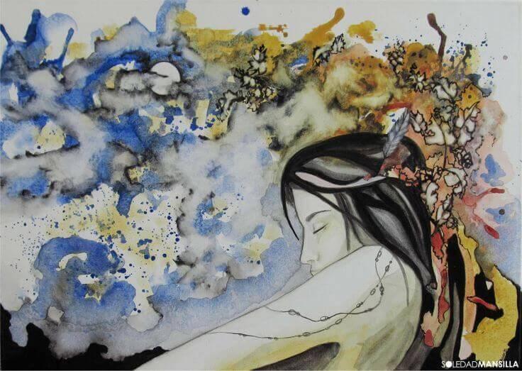 Mujer con los ojos cerrados sola
