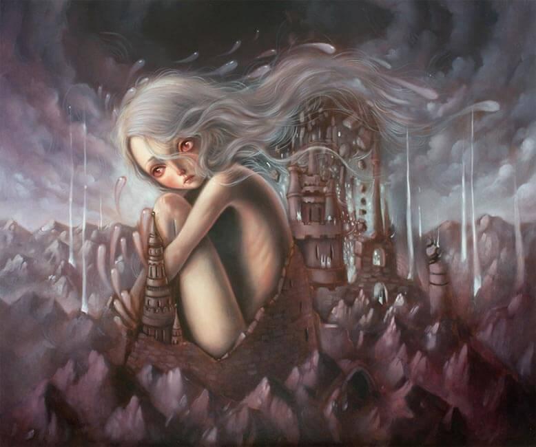 Mujer llorando rodeada por un castillo